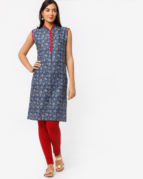 Floral Print Kurta With Stand Collar By Bitterlime ( Blue )