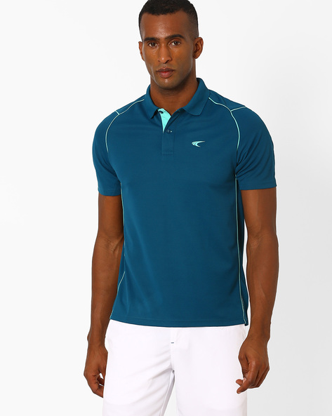 Tennis Polo T-shirt With Contrast Detail By PERFORMAX ( Dkturq )