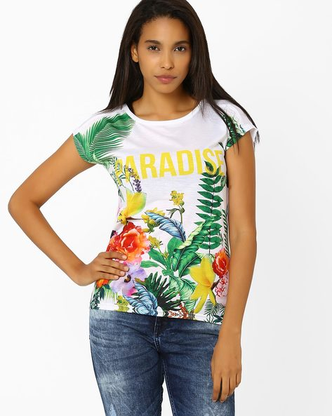 Floral Print T-shirt By Ajile By Pantaloons ( White )