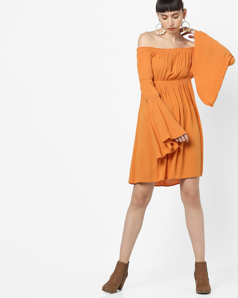 Off-Shoulder Dress With Bell Sleeves By AJIO ( Mustard )