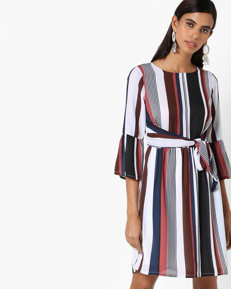 Striped Shift Dress With Bell Sleeves By Oxolloxo ( Multicolor )