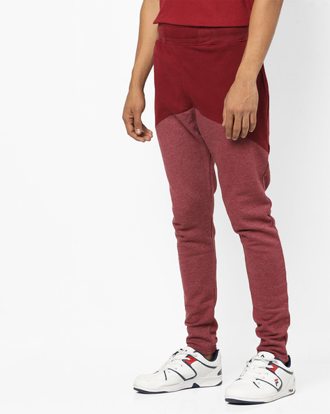 Colourblock Track Pants With Elasticated Waistband By Just Rhyse ( Red )