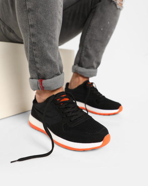 Lace-Up Sport Shoes By AJIO ( Black )