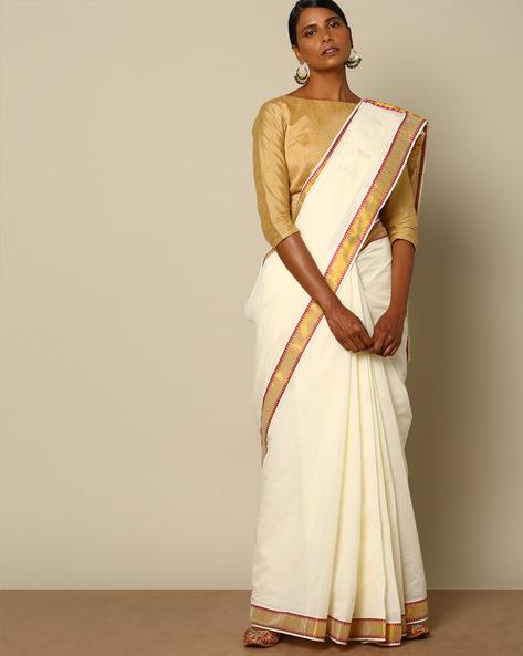 Kerala Kasavu Buti Cotton Saree With Brocade Pallu By Indie Picks ( Offwhite ) - 460107913001