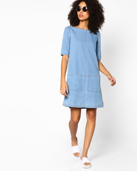 Denim Shift Dress By AJIO ( Lightblue )