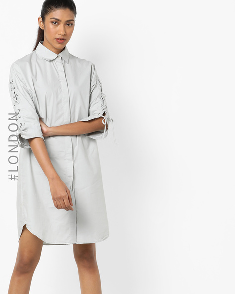 Shirt Dress With Lace-Up Sleeves By Glamorous ( Lightgreen )