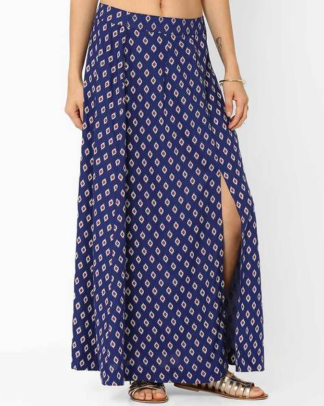 Printed Maxi Skirt With Front Slit By AJIO ( Blue )