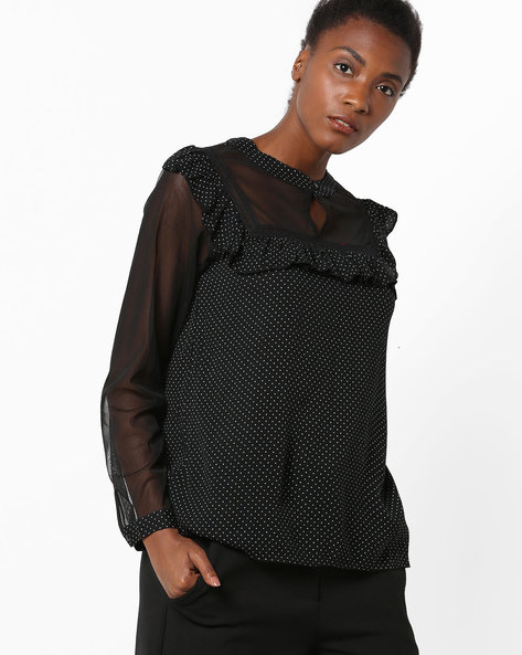 Polka-Dot Top With Ruffled Trims By Rena Love ( Black )
