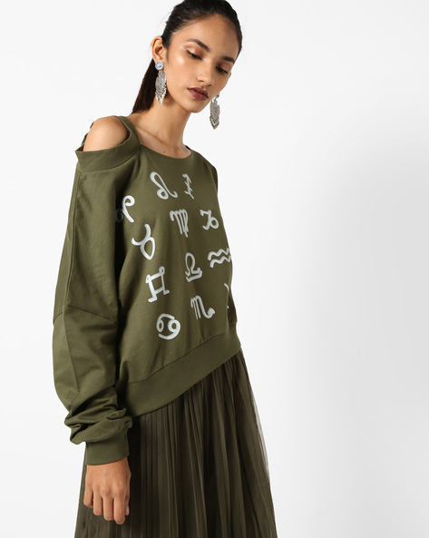 Printed Sweatshirt With Cold-Shoulder Sleeve By AJIO ( Olive )
