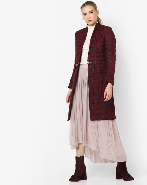 Open-Front Longline Jacket By CODE By Lifestyle ( Wine )