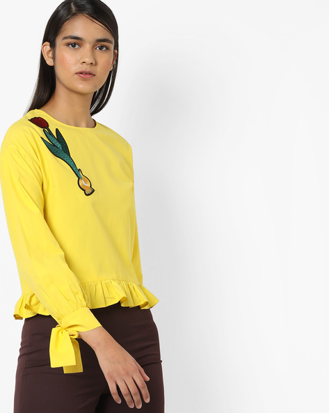 Frilled Peplum Top With Embroidery By AJIO ( Yellow )