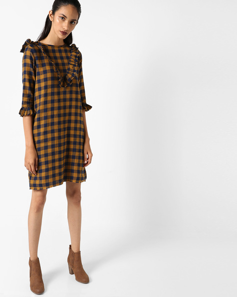Checked Dress With Ruffles By Evah London ( Mustard )