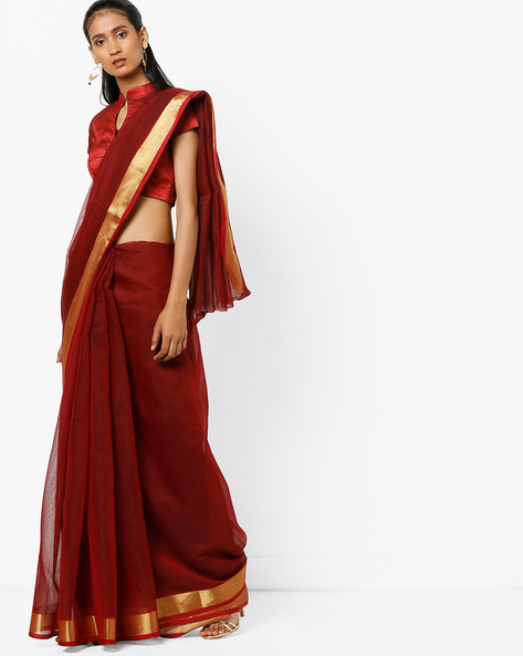 Saree With Contrast Border By Florence ( Maroon )