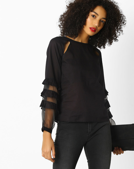 Self-Striped Top With Tiered Sleeves By Rena Love ( Black )