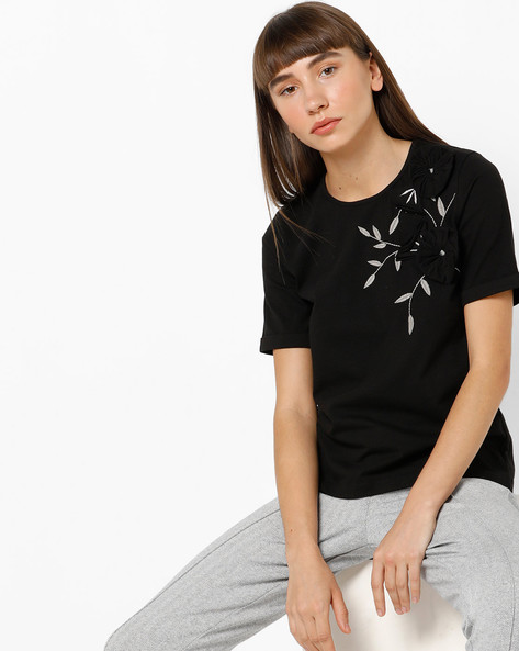 Embroidered Top With Floral Embellishment By AJIO ( Black )