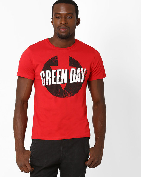 Graphic Print Crew-Neck T-shirt By Free Authority ( Red )
