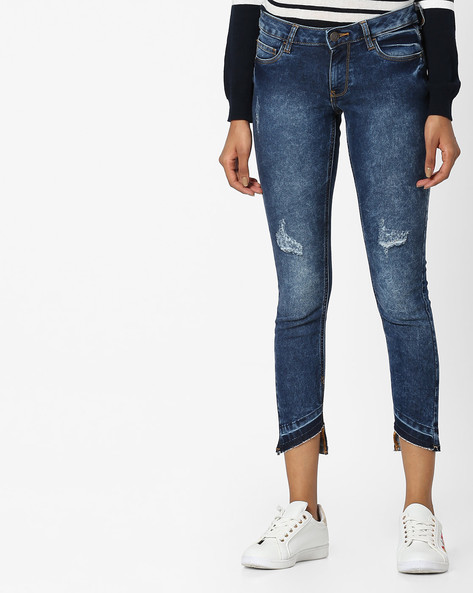 Acid-Washed Distressed Jeans With Frayed Hems By DNMX ( Darkblue )