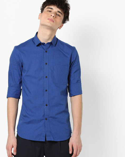 Checked Shirt With Patch Pocket By US POLO ( Blue ) - 460183018001