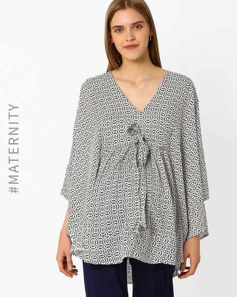 Printed Maternity Tunic With Batwing Sleeves By Oxolloxo ( Black )