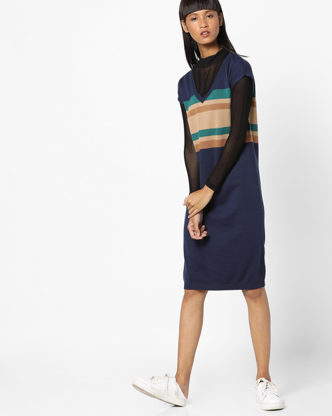 Colourblock Knitted Shift Dress By UNITED COLORS OF BENETTON ( Multi )