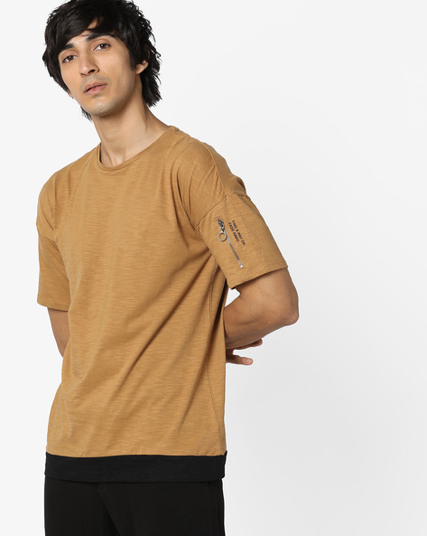 Layered T-shirt With Drop-Shouldered Sleeves By AJIO ( Khaki )