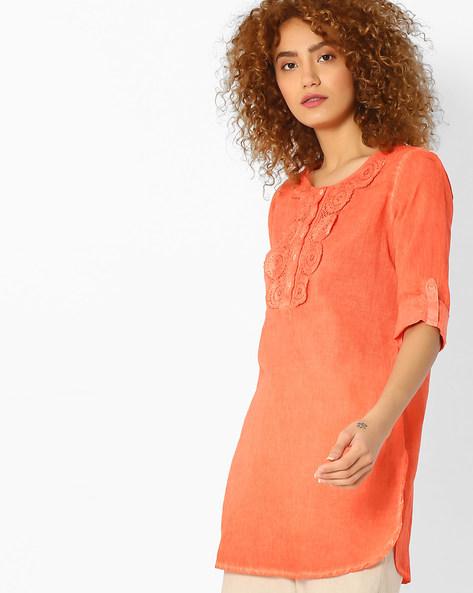 Kurti With Crochet Overlay By Melange By Lifestyle ( Orange )