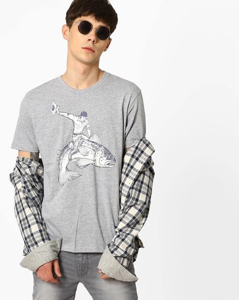 Crew-Neck Graphic Print T-Shirt By WRANGLER ( Grey )