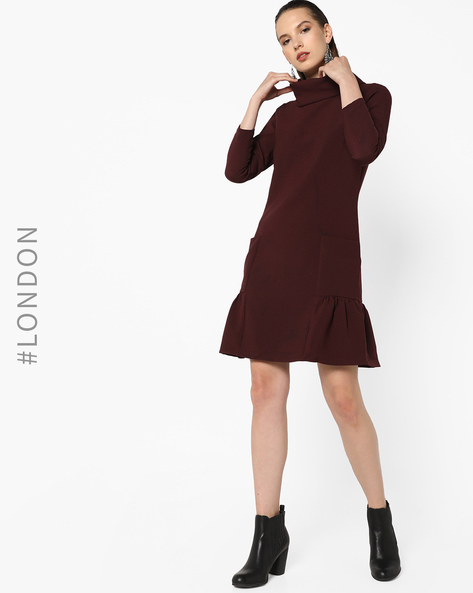 Collared A-line Dress With Pockets By Closet London ( Wine )