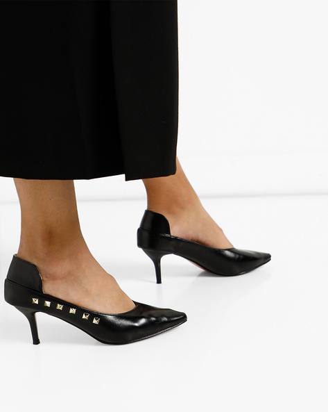 Panelled Pumps With Metal Studs By MFT Couture ( Black )