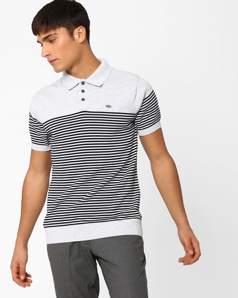Striped Polo T-shirt By NETPLAY ( Ltgrey )