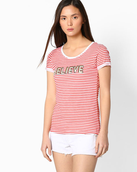Striped T-shirt With Upturned Hems By TEAM SPIRIT ( Ltpeach )