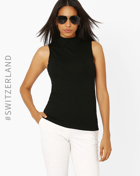 Knitted High-Neck Top By TALLY WEiJL ( Black )