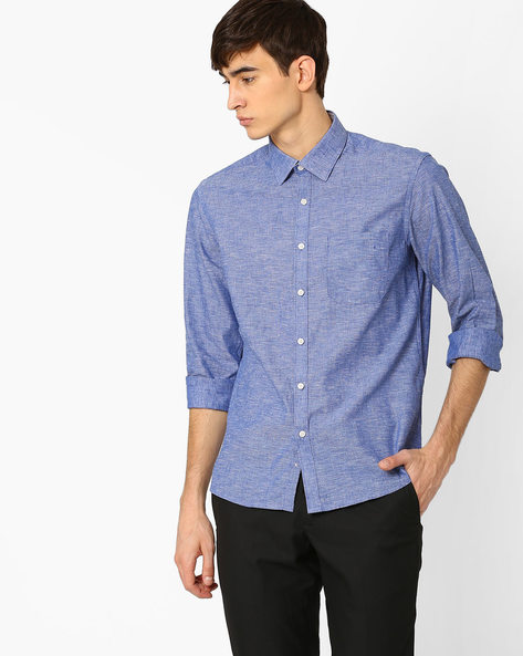 Linen Shirt With Patch Pocket By NETWORK ( Blue )