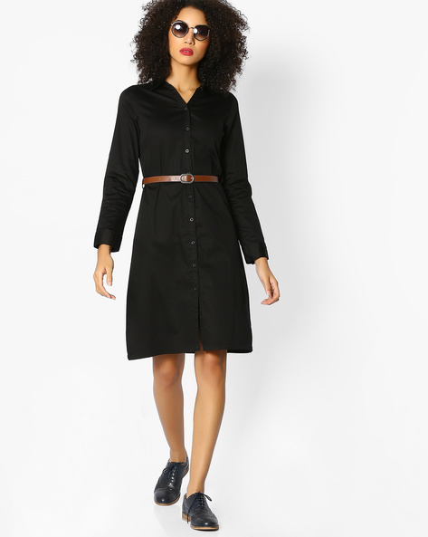 Shirt Dress With Belt By FIG ( Black )