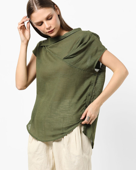 Textured High-Low Top With Button Closures By AJIO ( Olive )