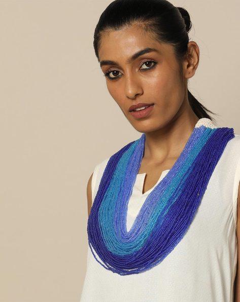 Multi Strand Glass Bead Layered Necklace By IMLI STREET ( Blue )