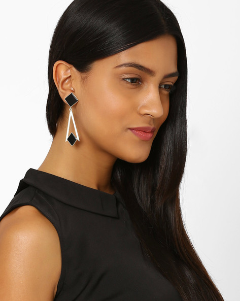 Stone-Studded Dangler Earrings By Ssoul ( Black )