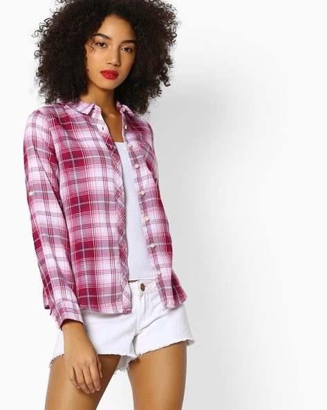 Checked Shirt With Roll-Tab Sleeves By DNMX ( Pink )