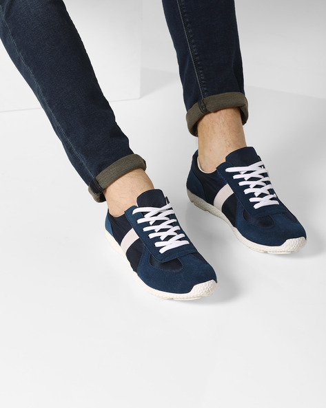 Low-Top Lace-Up Sneakers By AJIO ( Navy ) - 460083912005