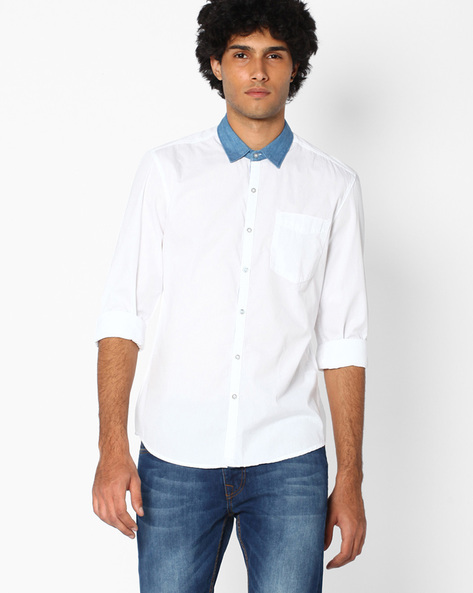Cotton Poplin Slim Fit Shirt By Lee ( White )