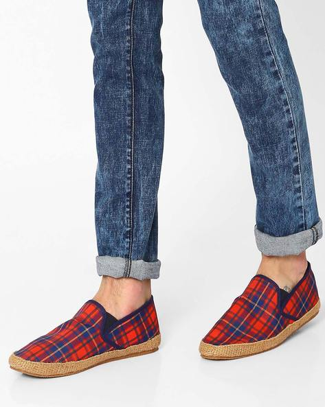 Checked Canvas Espadrilles By Carlton London ( Red )