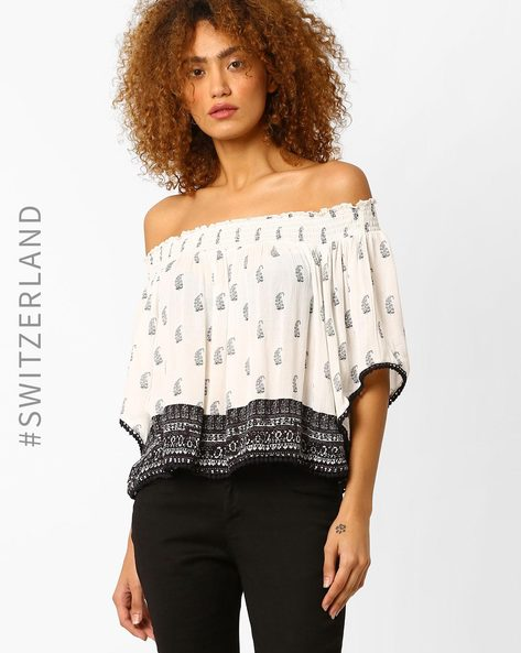 Off-Shoulder Kimono Top By TALLY WEiJL ( Offwhite )