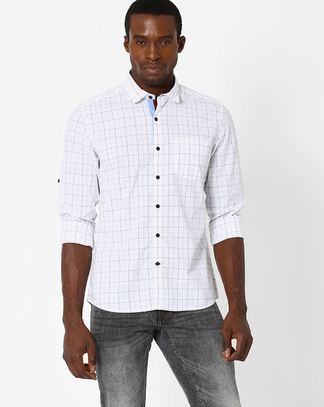 Checked Shirt With Chest Pocket By NETPLAY ( Black )