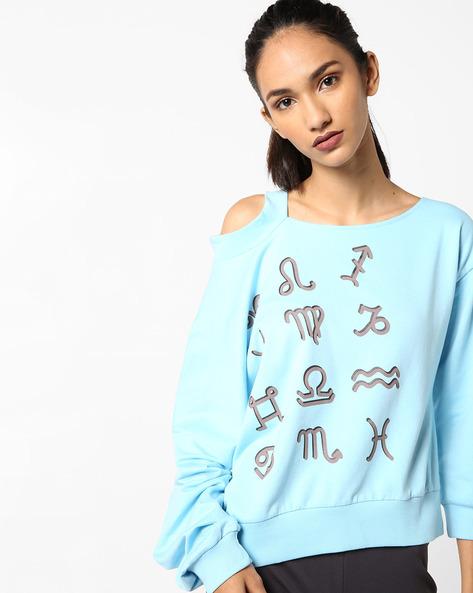 Printed Sweatshirt With Cold-Shoulder Sleeve By AJIO ( Blue )