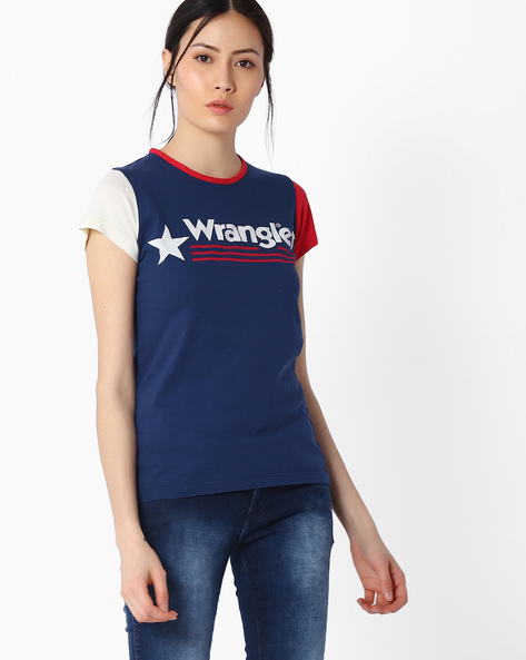 Crew-Neck Graphic Print T-shirt By WRANGLER ( Blue )