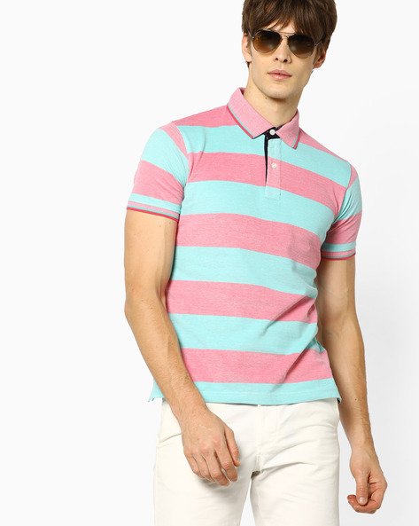 Polo T-shirt With Stripe-Tipped Hems By Fort Collins ( Green )