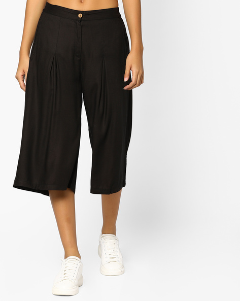Culottes With Elasticated Back Waist By Indian Ink ( Black )