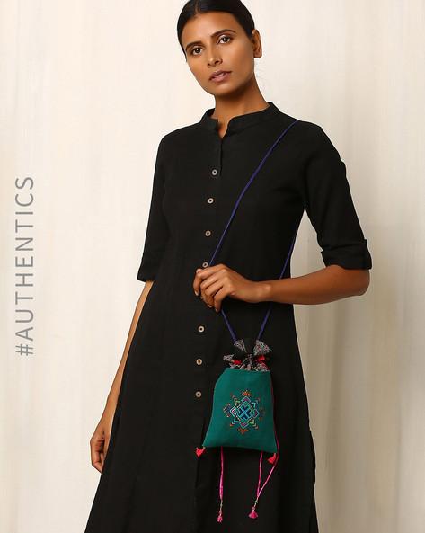 Kutch Soof Hand Embroidery Potli Bag By Indie Picks ( Lightgreen )