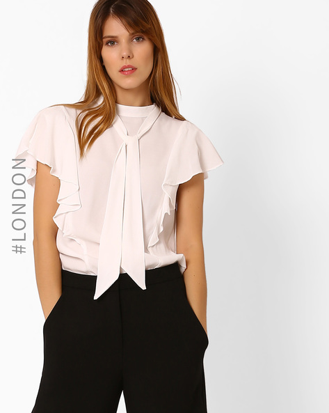 Tie Collar Top With Flutter Sleeves By Closet London ( Ivory )