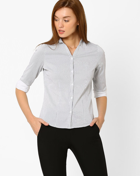 Striped Shirt With Curved Hem By FIG ( Blue )